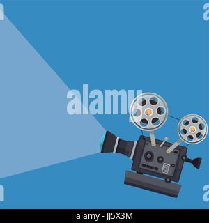 movie projector film strip reel image Stock Vector Art