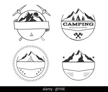 Set of blank vintage summer camp badges and outdoor logo templates ...