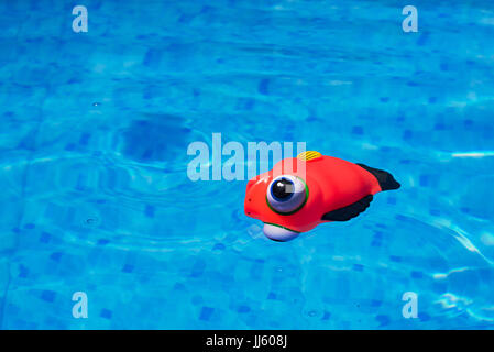 Generic rubber fish toy floating in swimming pool, summertime activity and enjoyment - Stock Photo