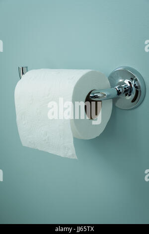 White roll of toilet paper hanging on a chrome holder. - Stock Photo