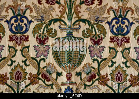 Altar cloth detail, St. Mary`s Church, Ardley, Oxfordshire, UK - Stock Photo