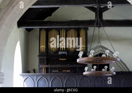 Interior view with organ, St. Mary`s Church, Ardley, Oxfordshire, UK - Stock Photo