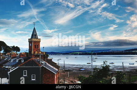 Lympstone, Devon showing St Peter's Tower and the Exe Estuary - Stock Photo