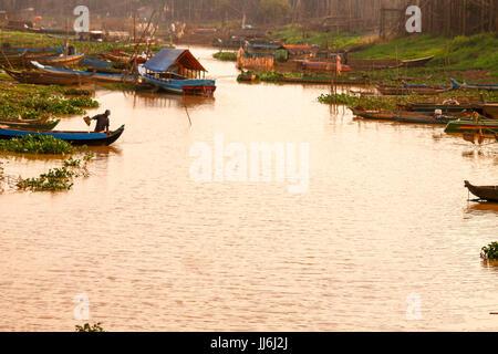 Flooded Village in Tonle Sap Lake - Stock Photo
