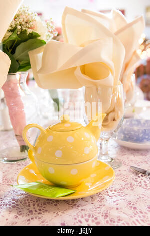 Tea Party Place Setting For Wedding Reception Tables - Stock Photo