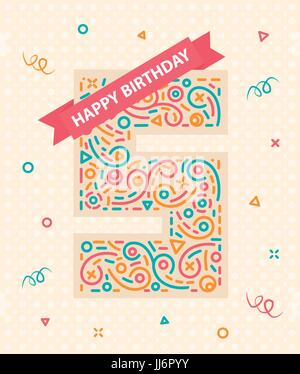 Happy birthday number 5 Greeting card for five year - Stock Photo