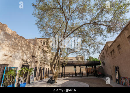 Wall of Old Dubai, Al Fahidiold souk area, Bastakiya, Dubai, United Arab Emirates - Stock Photo