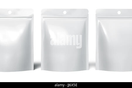 Blank Zipper pouch, three plastic white bags template mockup for design uses in 3d rendering, close up - Stock Photo