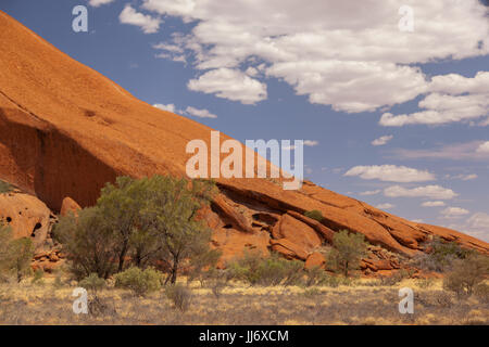 Uluru, (Ayers Rock), close up views of the different areas around Uluru, rock gardens, water holes, paths, rock - Stock Photo