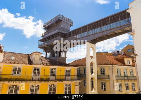 Lisbon Elevador de Santa Justa, view of the walkway of the Elevador Santa Justa spanning the Rua do Carmo in the - Stock Photo
