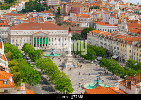 Lisbon Rossio, aerial view of the Rossio square (Praca Dom Pedro IV) in the Baixa district in the centre of Lisbon, - Stock Photo