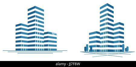 Modern city, skyscraper logo. Construction, building icon or label. Vector illustration - Stock Photo