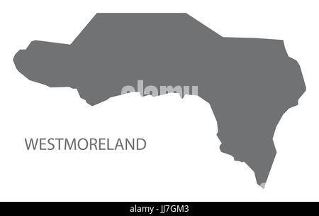 Westmoreland Jamaica region map grey illustration silhouette shape - Stock Photo