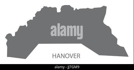 Hanover Jamaica region map grey illustration silhouette shape - Stock Photo