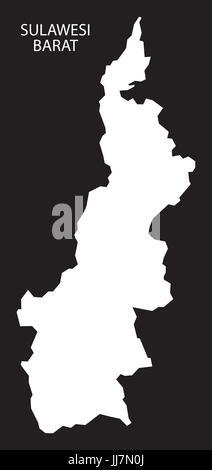 Sulawesi Barat Indonesia map black inverted silhouette illustration shape - Stock Photo