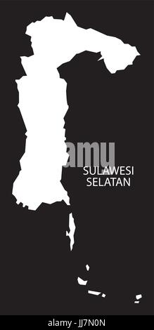 Sulawesi Selatan Indonesia map black inverted silhouette illustration shape - Stock Photo