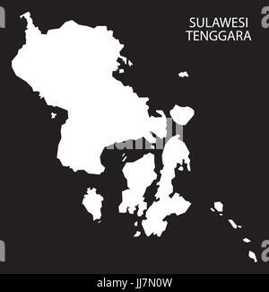 Sulawesi Tenggara Indonesia map black inverted silhouette illustration shape - Stock Photo