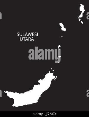 Sulawesi Utara Indonesia map black inverted silhouette illustration shape - Stock Photo