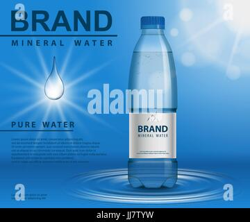Pure mineral water ad, plastic bottle with water drop elements on blue background. Transparent container mockup, - Stock Photo