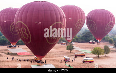 Hot air balloons about to take off in Bagan, Myanmar - Stock Photo