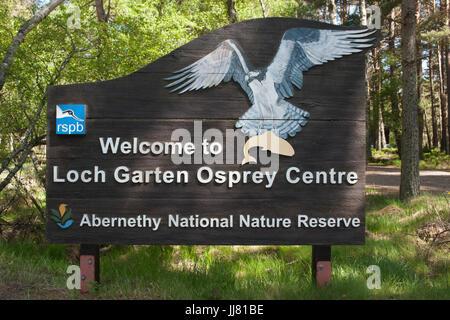sign post for Loch Garten RSPB Osprey Centre, Abernethy National Nature Reserve, Scotland, British Isles - Stock Photo