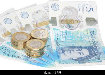 The newly introduced currency of the United Kingdom - The polymer five pound (£5) note with features more measures - Stock Photo