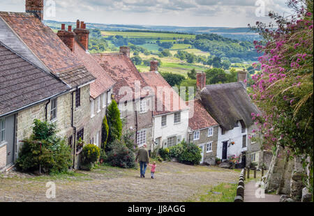 Gold Hill, a scenic, well known view from the top in Shaftesbury, Dorset, UK - Stock Photo