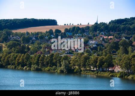 DEU, Germany, Sauerland region, Moehnesee, the village Guenne at the Moehensee water supply dam.  DEU, Deutschland, - Stock Photo