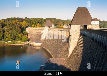 DEU, Germany, Sauerland region, Moehnesee, Moehensee water supply dam.  DEU, Deutschland, Sauerland, Moehnesee, - Stock Photo