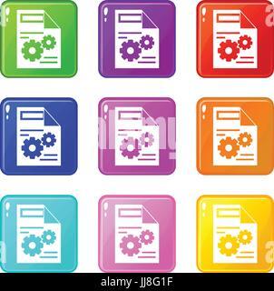 Web setting icons 9 set - Stock Photo