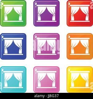 Curtain on stage icons 9 set - Stock Photo