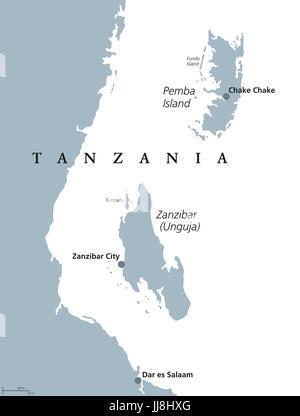 Zanzibar and Pemba Island political map. Semi-autonomous region of Tanzania in East Africa. Zanzibar Archipelago - Stock Photo