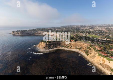 Shoreline aerial of Rancho Palos Verdes in Los Angeles County, California. - Stock Photo