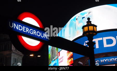 London, UK - 28 December, 2012: London Underground Sign at Piccadilly Circus - Stock Photo
