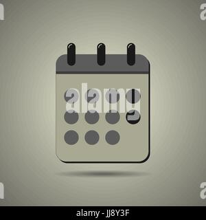 Calendar icon in flat style, black and white colors, isolated, EPS 10 - Stock Photo