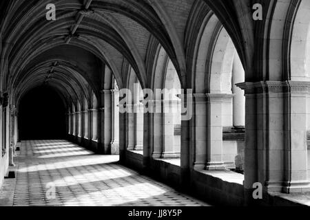 Cloister at, Abbey de Fontevraud, French Abbey, Black and White, high contrast. - Stock Photo