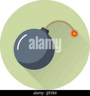 Black bomb icon with burning wick, isolated - Stock Photo