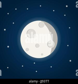 Moon with stars on the night sky with stars in flat style - Stock Photo