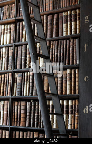 Moving ladder in the Long Room Library, Trinity College, Dublin Ireland. Book of Kells, education concept, learning, - Stock Photo