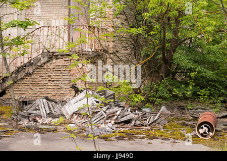 Abandoned Scene of Pripyat Ghost Town in Chernobyl Exclusion Zone - Stock Photo
