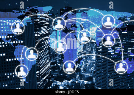 Global business network concept with icons of people connected on the world map and city skyline with office building - Stock Photo