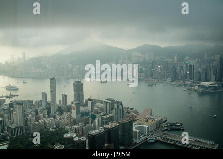 View of Victoria Harbor from the Ritz Carlton, 108th floor of the ICC, Hong Kong - Stock Photo