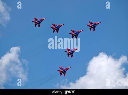 MAGNITOGORSK, RUSSIA - July 14: Russian aerobatic display team Swifts in Magnitogorsk, Russia on July 14, 2017 - Stock Photo