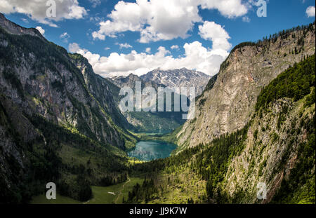 Mountain Lake near Berchtesgaden in german Alps - View on Obersee and Koenigsee - Stock Photo