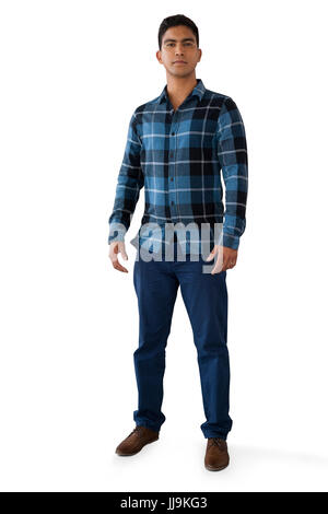 Full length portrait of young man against white backgorund - Stock Photo