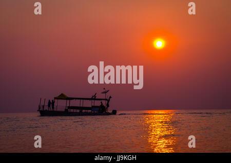 Evening sunset on the amazon river brazil - Stock Photo