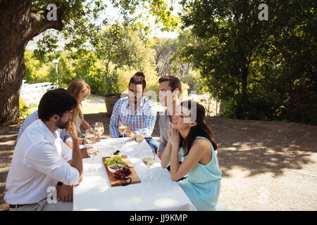 Group of friends interacting with each other while having champagne at outdoor restaurant - Stock Photo