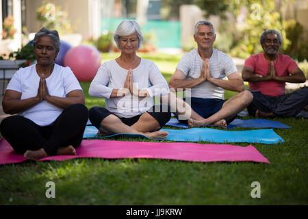 Multi ethnic senior people sitting in prayer position on yoga mats at park - Stock Photo