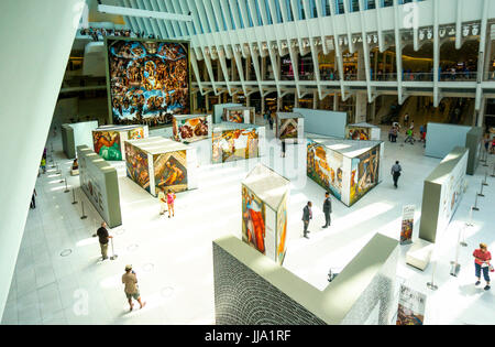 Exhibition in World Trade Center's Oculus shows Up Close Michelangelo's Sistine Chapel replicas - Stock Photo