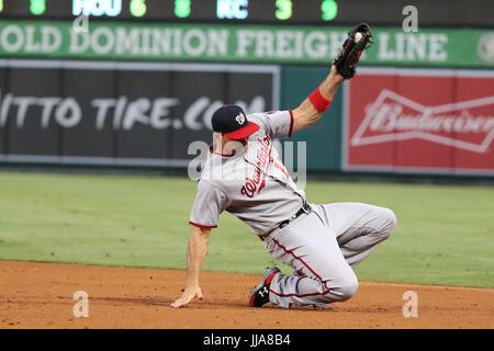 Anaheim, California, USA. July 18, 2017: Washington Nationals first baseman Ryan Zimmerman (11) snags a sharp liner - Stock Photo